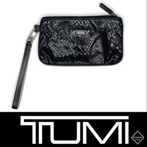 Tumi Black Faux Snakeskin Wristlet *Used*